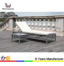 Balcony sun lounger PE rattan lounger chair for hotel beach
