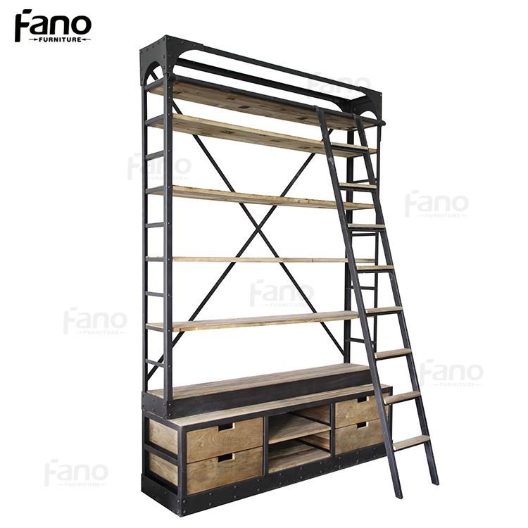 Mobili rio antigo estante de metal de ferro industrial do vintage moldura de madeira gavetas - Boekenkast hout en ijzer ...