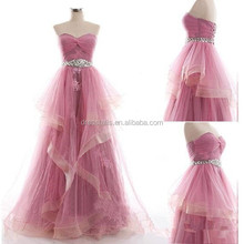 ED046 Real Image 2015 Sweetheart Ruffles Pink Lace Evening Dress