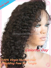 Deep curly Malaysian Human Hair Full Lace Wig With Silk Top 4x4 , 20inches Natural Hairline