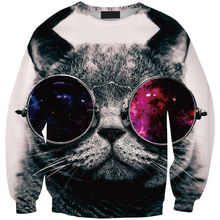 WY33 Digital Printing Europe cat with glasses round neck sweater wholesale women's fashion Hoodies