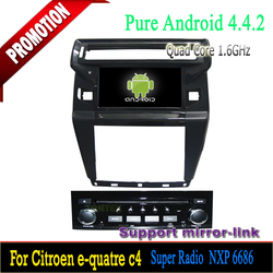 1 din Car pc android For Citroen C4 2012 with can-bus/car dvd player gps touchscreen Android 4.4. OS,bluetooth quad core