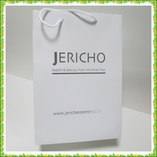 high quality paper bag make in Guangzhou /oem production paper bag / white paper bag woth tie handle
