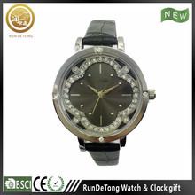 Black pu strap diamond plum blossom shape dial custom made watch boxes