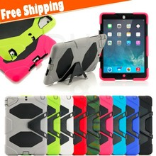 free shipping Shockproof Heavy Duty Case for ipad air Silicone Hard Case,Kickstand Cover Case for iPad air