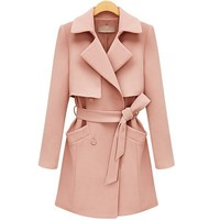 Long Coats For Women,Belted Pockets Pink Trench Coat/ Beautiful Name Brand Coats For Women