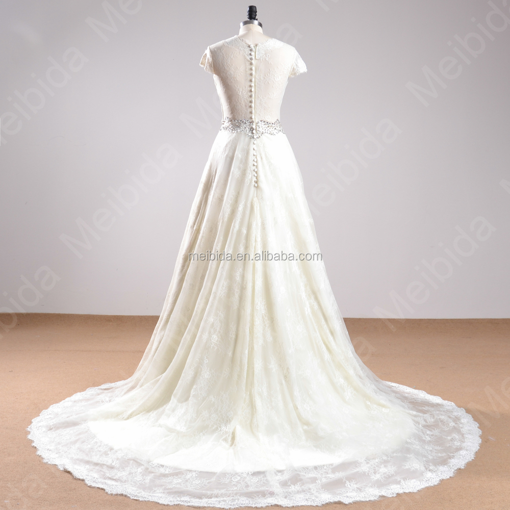Wholesale noble long train bridal gown white and beige for Beige short wedding dresses