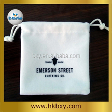 Custom white velvet drawstring pouch bag for promtion gift