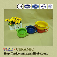 2014 New Product korean style colorful two handle cheap ceramic pots