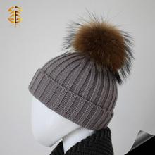 Gorrita tejida de piel Bobble head sombreros de lana para niños sombreros de piel de mapache Bobble gorros de lana