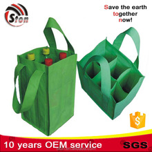 customized logo printing reusable 6 bottles divided non woven wine drink carry bags for gifts