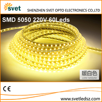 Waterproof Outdoor Led Flexible Strip Light 220V SMD 5050 60 Leds/M Warm White 8mm PCB Copper Wire