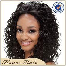 Natural looking virgin malaysian curly human hair full lace wigs