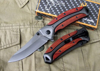 heavy duty OEM american USA famous knife brand steel and wood handle hunting folder folding pocket knife