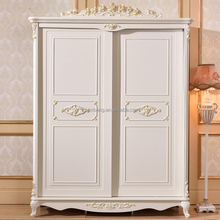 Luxury French Style Hand Carved Wooden MDF Panel Bedroom Sliding Door Cupboard Design