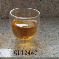 heat resitant pyrex glass double wall tea cup