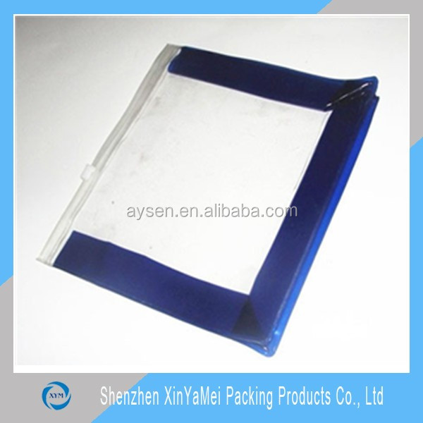 PVC Clear Vinyl Rectangular Travel/Cosmetic Slider Zipper Bag