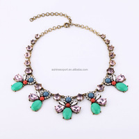Fashion Mint Oval Beads Butterfly Bee Designer Cheap Bib Statement Necklace