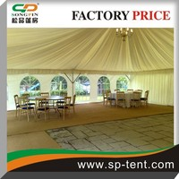 Aluminum frame big wedding tent 15x30m with elegant curtain table chair and dance stage