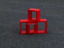 Seven trees brand Elegant living room wooden wall shelves three quadrilateral red creative lattice