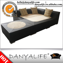 Dysf-d4301 Danyalife jardin synthétique Wicker sectionnelle canapé - lit