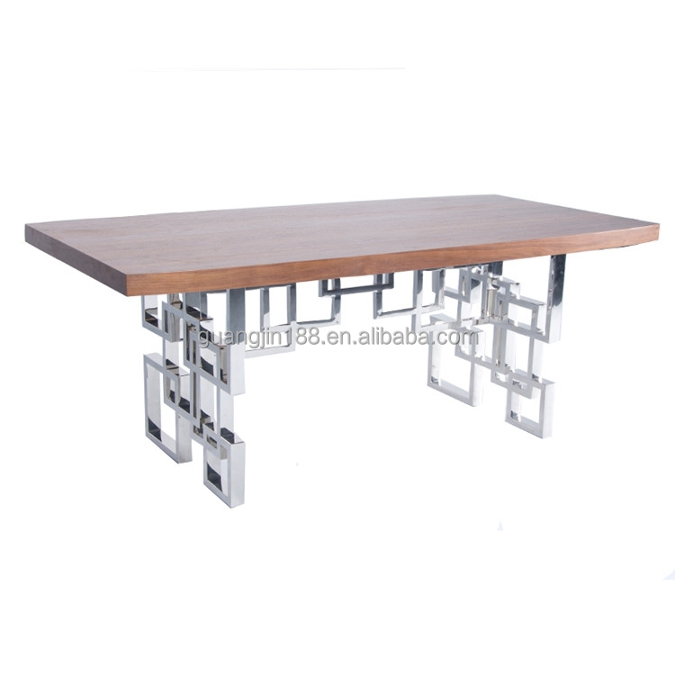 Stainless Steel Base Modern Wooden Dining Table Set Buy Dining Table
