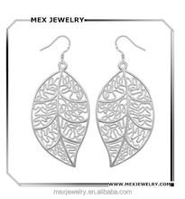 Fashion Jewelry 925 Silver Plated Dangle Big Leaf Earings Eardrop