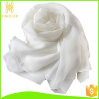 In Stock Wholesale Easy Mach Fashion Plain Silk Scarf White