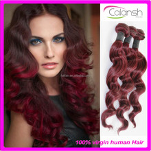 Loose wave Brazilian human hair weaves extensions dark red hair