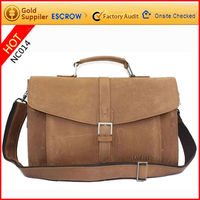Portable high quality genuine leather men's famous briefcase with strap