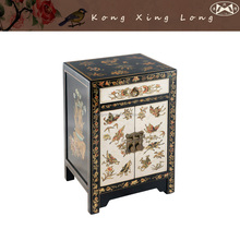 Black Cream Chinese End Table, Antique Reproduction Furniture