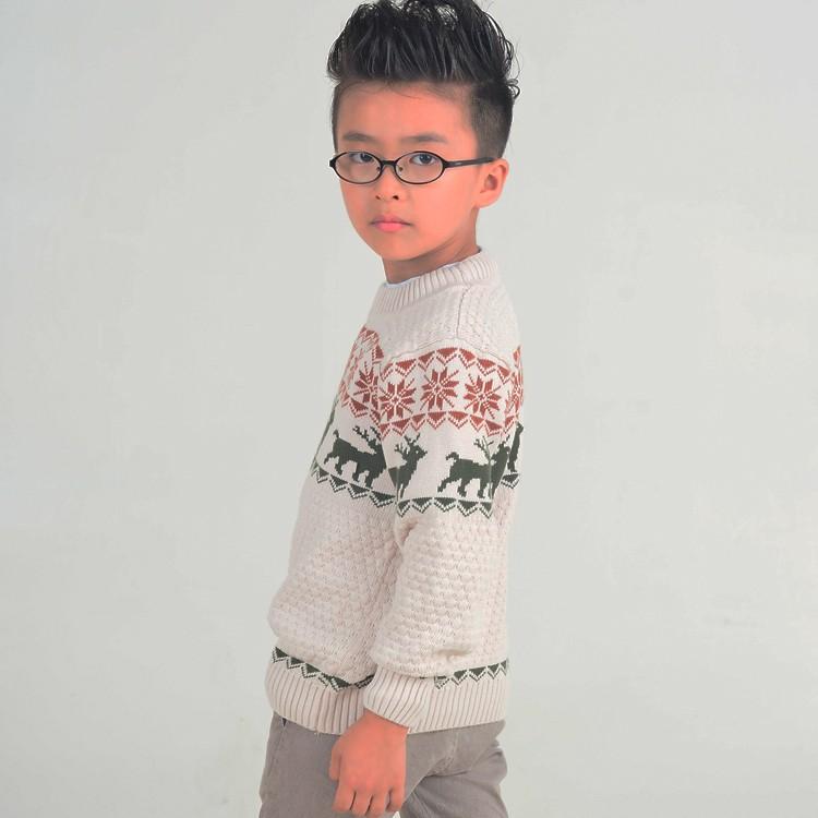 Color Beige cuello redondo ciervo patrón de tejer suéter de Navidad ...