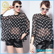 2015 Summer High quality women's clothing dot oversized tops loose sexy chiffon blouses