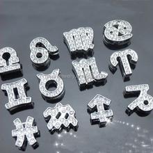 DIY rhinestone alloy 12 zodiacs slide charms fit 10mm bracelets