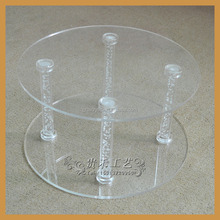 2 tiers unitized Acrylic cake display stand, clear acrylic cake display stand