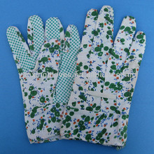 Ladies cotton with PVC dotted garden working gloves