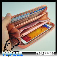 2014 newest design PU leather wallet clutch long handbag phone case for iphone4