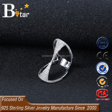alibaba china 925 silver luxury style mirco ring with micro pave cz