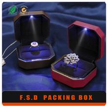 High End Handmade laser light wood led ring box
