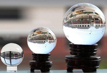 clear k9 glass sphere, crystal sphere ball with wooden base