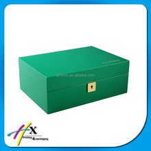 Custom Logo Green Jewelry Wooden Velvet Storage Packing Box with Mirror