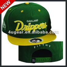 2012 New green/yellow wool/acrylic blended flat brim snapback hats