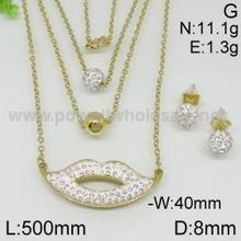 Fina joyería de dama de honor nuevo collar de diseño con labios diamond colgante y pendientes del oro de la joyería
