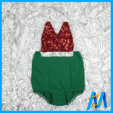 Wholesale Baby Christmas Romper Red with Green Baby Sequin Rompers Xmas Baby Cotton Bubble Romper Girls Boutique Clothing