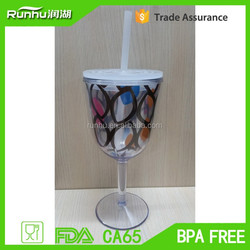 red wine cup design plastic box for cold drink ,with freezer gel inside RH119