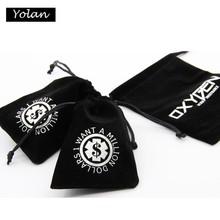 Black Velvet Bag with Logo in round shape, custom velvet jewelry bag, Custom velvet drawstring pouch bag
