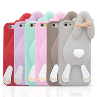 Hot Selling Cute 3D cartoon rabbit design silicone soft back case cover for apple iphone 6 6plus