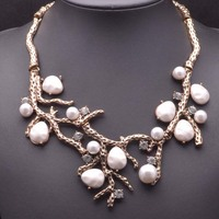 Fashion Gold Alloy Pearl Statement jewellery for women