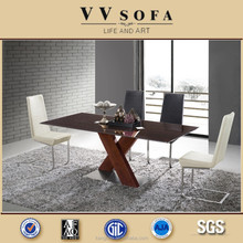 Glass dining table and chairs for dining room furniture