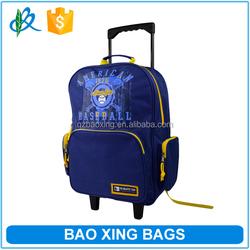 Fashion Baseball Print Backpack Outdoor Trolley Bag Kids Wheeled Bags